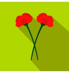 Two carnation flowers flat icon vector