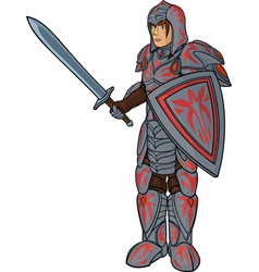 Warrior in plate armour vector