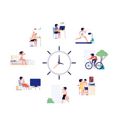 Woman daily schedule female activities every day vector