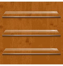 Wood Background With Glass Shelf vector