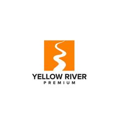 yellow river logo design template vector image