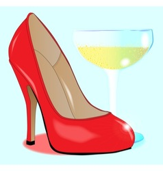 Champagne and Ladies Shoe vector image vector image