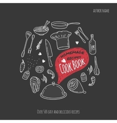 Cook book cover with hand drawn food vector image vector image