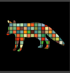 fox wildlife color silhouette animal vector image