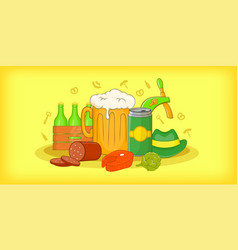 oktoberfest horizontal banner cartoon style vector image