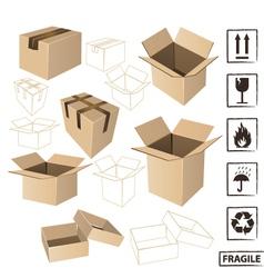 Cardboards with symbols set vector image