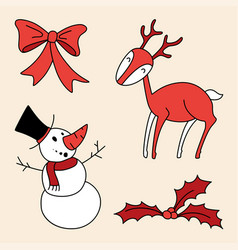 christmas set holly berries snowman bow deer vector image vector image