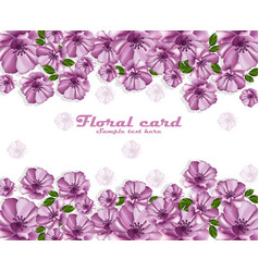purple flowers poster card frame delicate vector image vector image