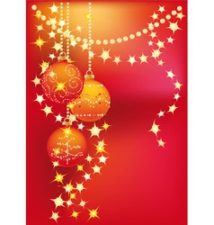 red christmas background with christmas tree balls vector image vector image