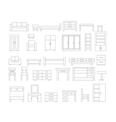set of linear furniture icons vector image