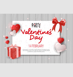 valentines day flyer greeting card party vector image