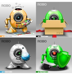 Digital robo set painter delivery vector image