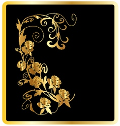 Gold roses card vector image