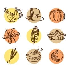 Set of thanksgiving hand drawn icons isolated vector image