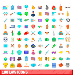 100 law icons set cartoon style vector image