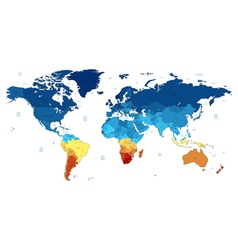 Blue and yellow detailed World map vector image vector image