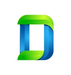 D letter leaves eco logo volume icon vector image vector image