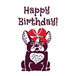 Dog present greeting card happy birthday vector image vector image