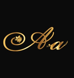 Gold letter A with roses vector image vector image