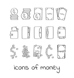 hand draw money icons collection of linear signs vector image vector image
