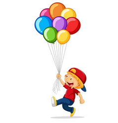 little boy holding colorful balloons vector image