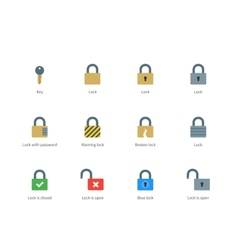 Lock and key color icons on white background vector image vector image