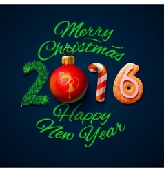 Merry Christmas 2016 greeting card vector image