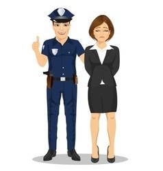 Policeman arresting businesswoman vector image