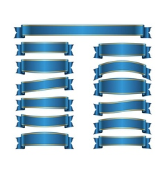 Ribbon banners set blue vector image