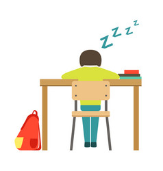 sleeping boy sitting at the desk in classroom vector image vector image