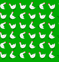 white chicken seamless pattern vector image vector image