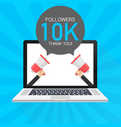 10000 followers thank you card with laptop vector