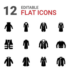 12 jacket icons vector