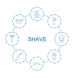 8 shave icons vector