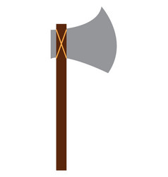 a sharp axe with long wooden handle used for vector image