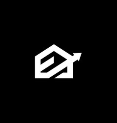 abstract monogram letter e with roof house logo vector image