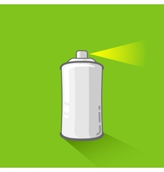 Aluminum spray can on green background aerosol vector