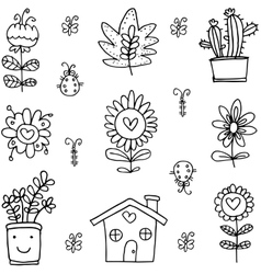 Art of flower set spring doodles vector