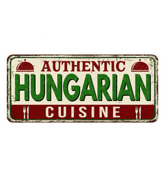 authentic hungarian cuisine vintage rusty metal vector image