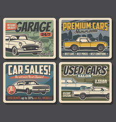 Auto repair car sales center vintage posters vector