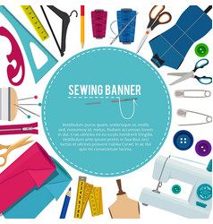 Background picture with different sewing elements vector