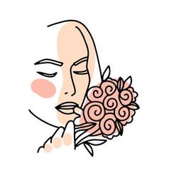 beautiful face a woman one line art portrait vector image