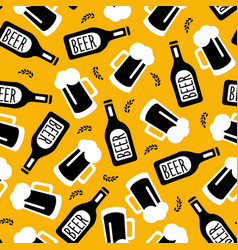 beer bottles and mugs seamless pattern brewery vector image