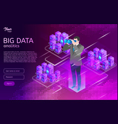 big data isometric design concept man in suit use vector image