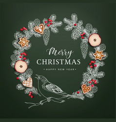 bird on christmas wreath made of hand drawn fir vector image