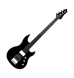 Black electric guitar icon vector