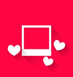 Blank photo frame with hearts for valentine day vector
