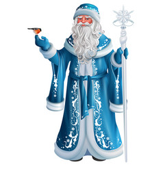 blue russian grandfather frost russian santa vector image
