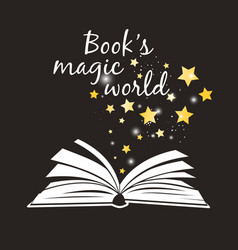 Books magic world poster open book with white vector