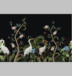 Border with cranes and peonies in chinoiserie vector